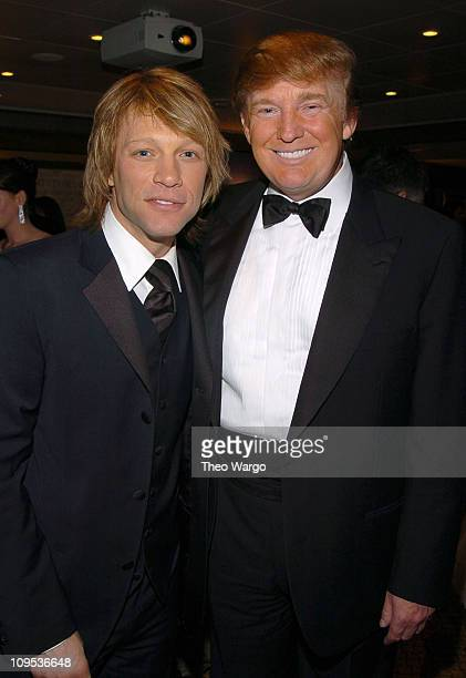 Jon Bon Jovi and Donald Trump during Entertainment Industry Foundation's Colon Cancer Benefit on the QM2 Green Room at Queen Mary 2 in New York City...