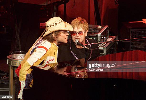 Jon Bon Jovi and Elton John at The Concert20 Years With AIDS at the Universal Amphitheater in Los Angeles to benefit the Elton John AIDS Foundation...