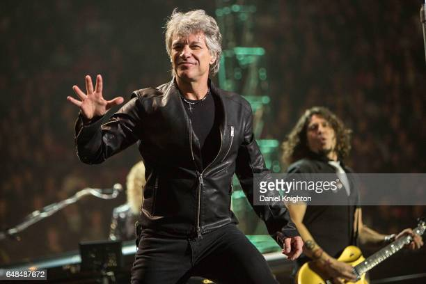 Jon Bon Jovi and guitarist Phil X of Bon Jovi perform on stage during the 'This House Is Not For Sale' Tour at Viejas Arena on March 5 2017 in San...