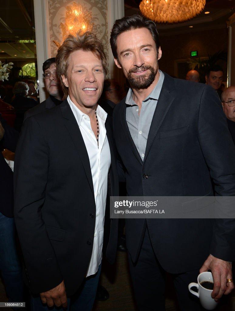 Jon Bon Jovi (L) and Hugh Jackman attend the BAFTA Los Angeles 2013 Awards Season Tea Party held at the Four Seasons Hotel Los Angeles on January 12, 2013 in Los Angeles, California.