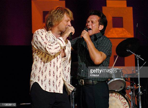 Jon Bon Jovi and John Mellencamp onstage at Radio City Music Hall in New York City for A Change Is Going To Come The Concert for John Kerry on...