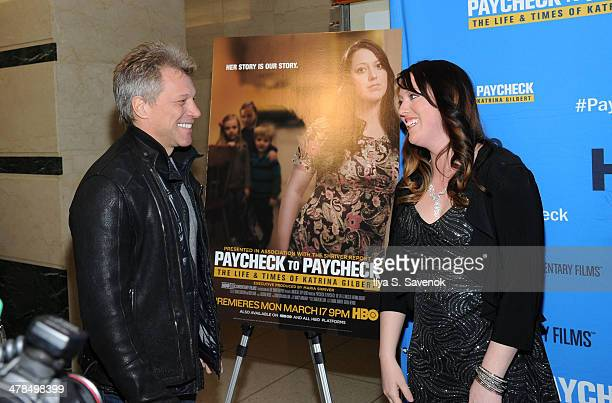 Jon Bon Jovi and Katrina Gilbert attend 'Paycheck To Paycheck The Life And Times Of Katrina Gilbert' New York Premiere at HBO Theater on March 13...