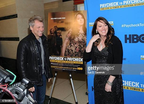 "Jon Bon Jovi and Katrina Gilbert attend ""Paycheck To Paycheck: The Life And Times Of Katrina Gilbert"" New York Premiere at HBO Theater on March 13,..."