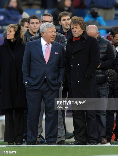 Jon Bon Jovi and New England Patriots owner Robert Kraft attend the AFC Divisional Playoff game against the Newe York Jets on January 16, 2011 at...