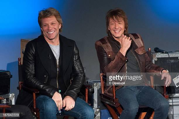 Jon Bon Jovi and Richie Sambora attend the 'BON JOVI Inside Out' Press Conference at AMC Empire 25 theater on November 27 2012 in New York City