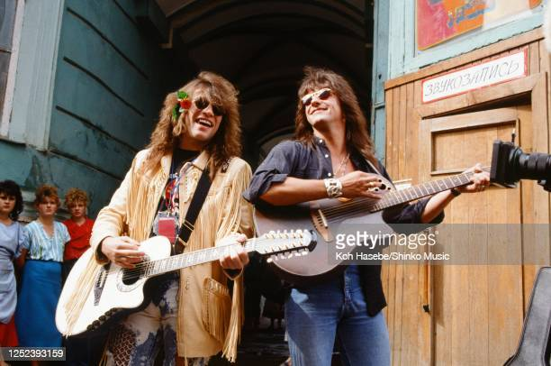 Jon Bon Jovi and Richie Sambora candid live on the street Jon Bon Jovi and Richie Samboraperform on the street on a street Moscow USSR 12th and 13th...