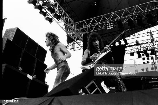 Jon Bon Jovi and Richie Sambora of Bon Jovi perform on stage at Nagoya Stadium for Super Rock '84 4th August 1984 Tokyo Japan
