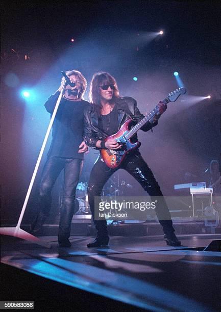 Jon Bon Jovi and Richie Sambora of Bon Jovi performing on stage at Wembley Arena London 14 May 1993