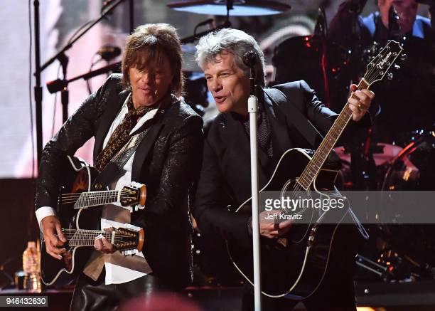 Jon Bon Jovi and Richie Sambora of Bon Jovi perfrom during the 33rd Annual Rock Roll Hall of Fame Induction Ceremony at Public Auditorium on April 14...