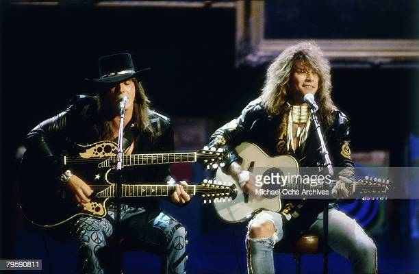Jon Bon Jovi and Richie Sambora perform an acoustic version of 'Wanted Dead Or Alive' at the 6th Annual MTV Video Music Awards at the Universal...