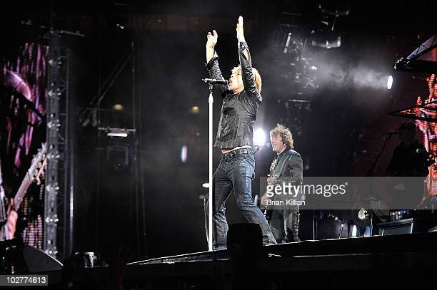 Jon Bon Jovi and Richie Sambora perform at the New Meadowlands Stadium on July 9, 2010 in East Rutherford, New Jersey.