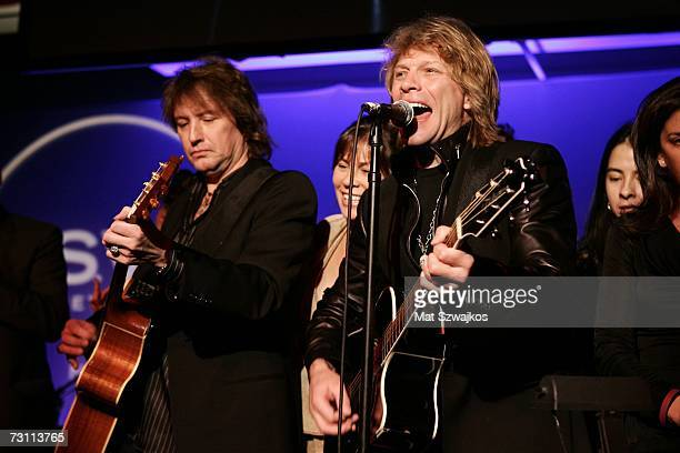 "Jon Bon Jovi and Richie Sambora perform on stage at Kenneth Cole's ""R.S.V.P. To HELP"" benefit hosted by Kenneth Cole and Jon Bon Jovi at the Tribeca..."