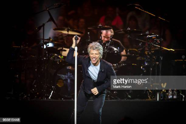 Jon Bon Jovi and Tico Torres of Bon Jovi perform in concert during the 'This House is Not for Sale' tour at the Canadian Tire Centre on May 7 2018 in...