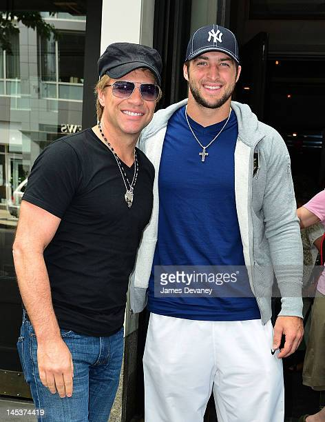 Jon Bon Jovi and Tim Tebow leave the SoHo Grand after having lunch together on May 27 2012 in New York City