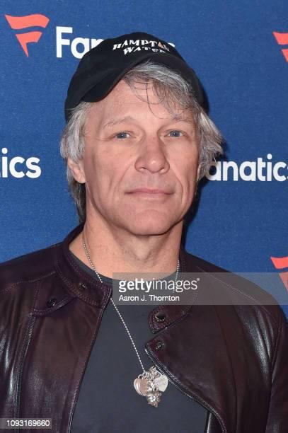 Jon Bon Jovi arrives to Michael Rubin's Fanatics Super Bowl Party at the College Football Hall of Fame on February 2 2019 in Atlanta Georgia