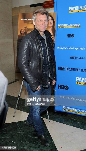"""Jon Bon Jovi attends """"Paycheck To Paycheck: The Life And Times Of Katrina Gilbert"""" New York Premiere at HBO Theater on March 13, 2014 in New York..."""