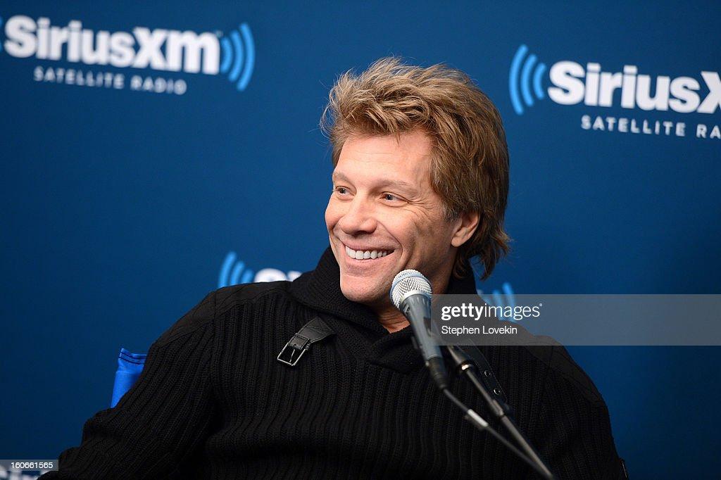 Jon Bon Jovi attends 'SiriusXM's Town Hall with Jon Bon Jovi' and moderator Savannah Guthrie at the SiriusXM studios on February 4, 2013 in New York City.