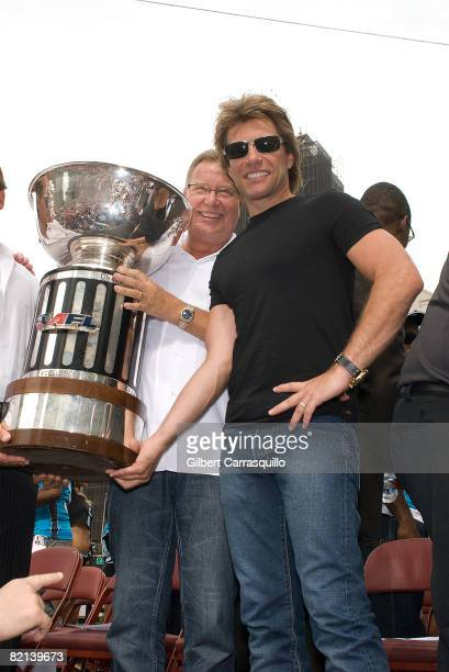 Jon Bon Jovi attends the Philadelphia Soul victory parade after their ArenaBowl XXII championship along the streets of Philadelphia on July 31 2008