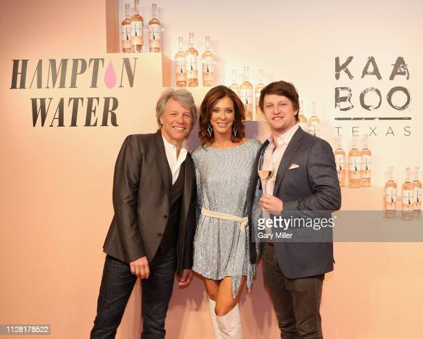 Jon Bon Jovi Charlotte Jones Anderson and Jesse Bonjiovi attend the KAABOO Texas Welcomes Hampton Water Tasting at The Joule Hotel on February 28...
