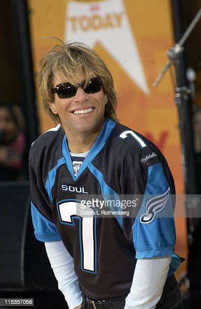 Jon Bon Jovi during Today Show 2004 Concert Series Bon Jovi at Rockefeller Plaza in New York City New York United States