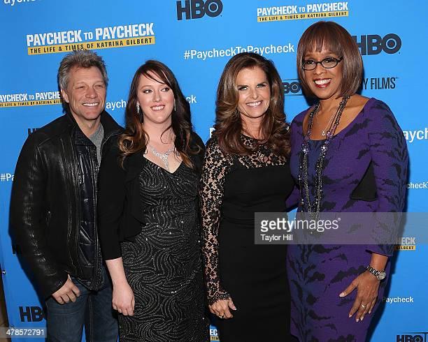 "Jon Bon Jovi, Katrina Gilbert, Maria Shriver, and Gayle King attend the ""Paycheck To Paycheck: The Life And Times Of Katrina Gilbert"" premiere at HBO..."