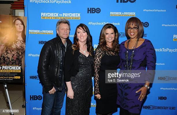 "Jon Bon Jovi, Katrina Gilbert, Maria Shriver and Gayle King attend ""Paycheck To Paycheck: The Life And Times Of Katrina Gilbert"" New York Premiere at..."