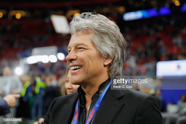 Jon Bon Jovi looks on during pregame at Super Bowl LIII between Los Angeles Rams and the New England Patriots at MercedesBenz Stadium on February 3...