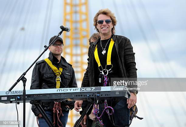 Jon Bon Jovi of Bon Jovi arrives to perform on the roof of the O2 Arena on June 7, 2010 in Greenwich, London, England. Bon Jovi kick off their 12...