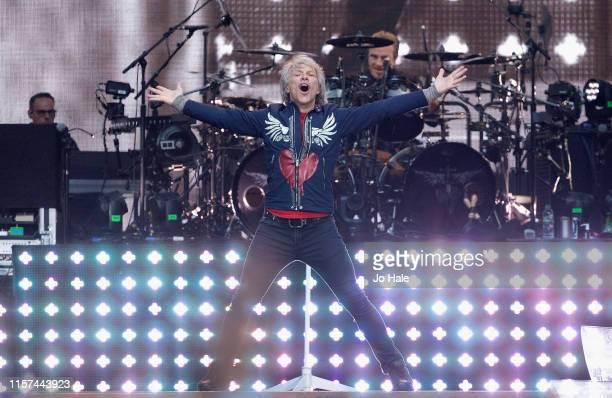 Jon Bon Jovi of Bon Jovi perform s on stage at Wembley Stadium on June 21 2019 in London England