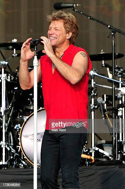 Jon Bon Jovi of Bon Jovi performs at day 1 of British Summer Time Hyde Park presented by Barclaycard at Hyde Park on July 5 2013 in London England