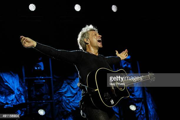 Jon Bon Jovi of Bon Jovi performs at Park HaYarkon on October 3 2015 in Tel Aviv Israel