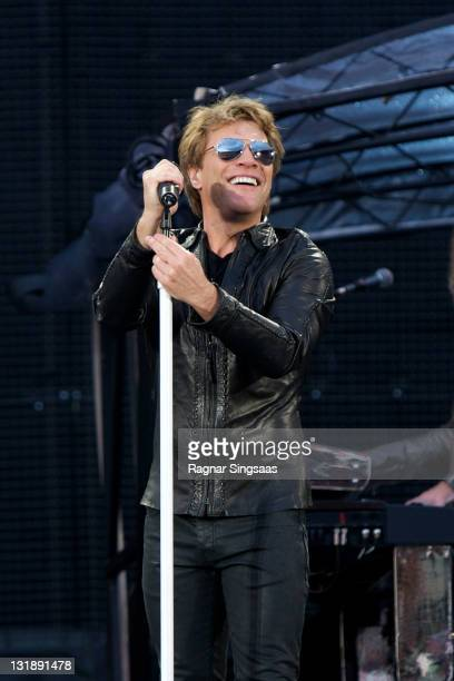 Jon Bon Jovi of Bon Jovi performs at Ullevaal Stadion on June 15 2011 in Oslo Norway