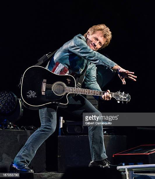 Jon Bon Jovi of Bon Jovi performs during their 'Because We Can' tour at the Wells Fargo Center on November 5, 2013 in Philadelphia, Pennsylvania.