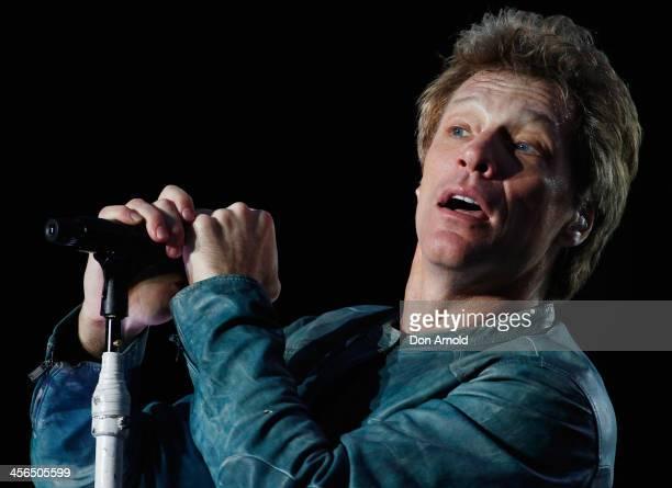 Jon Bon Jovi of Bon Jovi performs live for fans at ANZ Stadium on December 14, 2013 in Sydney, Australia.