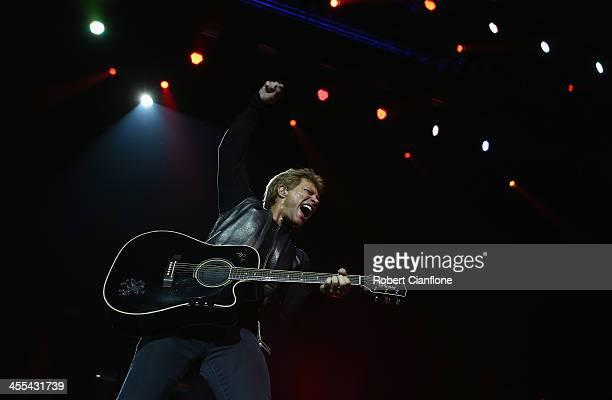 Jon Bon Jovi of Bon Jovi performs live for fans at Perth Arena on December 12 2013 in Perth Australia