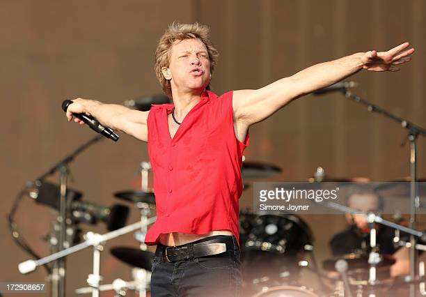 Jon Bon Jovi of Bon Jovi performs live on stage during day one of 'British Summer Time Hyde Park' presented by Barclaycard at Hyde Park on July 5...