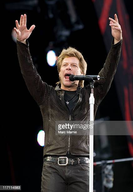 Jon Bon Jovi of Bon Jovi performs on stage at Murrayfield Stadium on June 22 2011 in Edinburgh United Kingdom