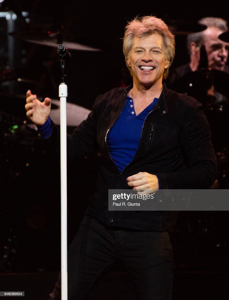 Jon Bon Jovi of Bon Jovi performs on stage at Philips Arena on April 20, 2018 in Atlanta, Georgia.