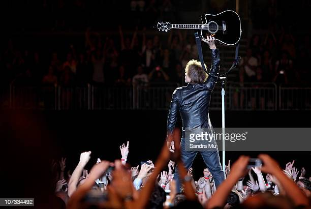 Jon Bon Jovi of Bon Jovi performs on stage at Vector Arena on December 5 2010 in Auckland New Zealand