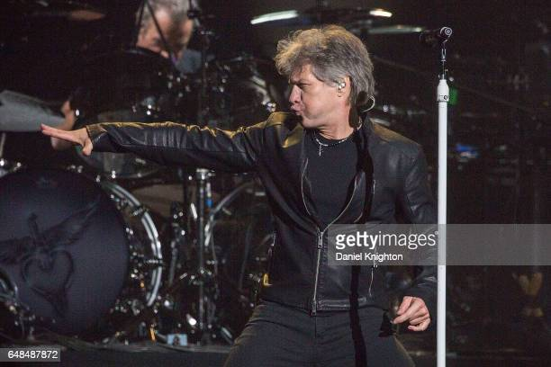 Jon Bon Jovi of Bon Jovi performs on stage during the 'This House Is Not For Sale' tour at Viejas Arena on March 5 2017 in San Diego California