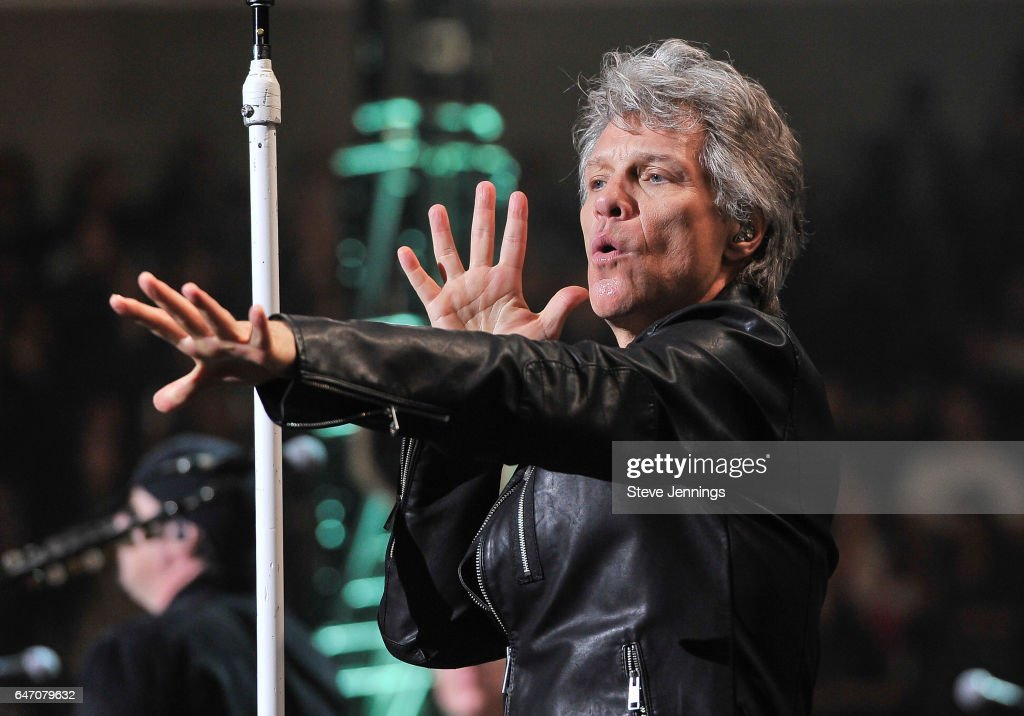 Jon Bon Jovi of Bon Jovi performs on the 'This House Is Not For Sale Tour' at SAP Center on March 1, 2017 in San Jose, California.