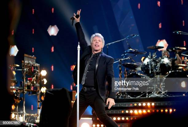 Jon Bon Jovi of Bon Jovi performs onstage during the 2018 iHeartRadio Music Awards which broadcasted live on TBS TNT and truTV at The Forum on March...