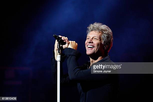 Jon Bon Jovi of Bon Jovi performs songs from their new album 'This House Is Not For Sale' at London Palladium on October 10 2016 in London England