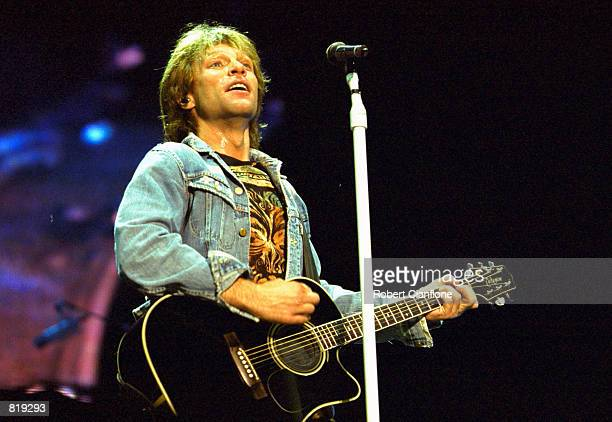 Jon Bon Jovi of the band Bon Jovi performs during the Universal Appeal Concert March 24 2001 at Colonial Stadium in Melbourne Australia