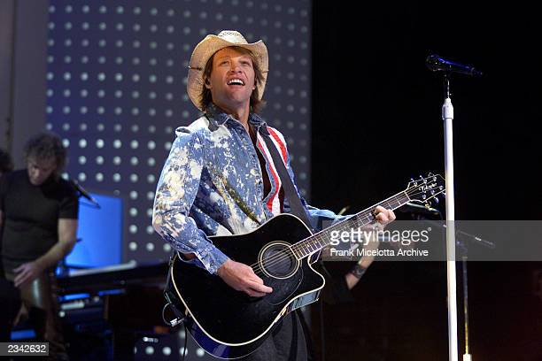 Jon Bon Jovi performing at The Concert for New York City at Madison Square Garden in New York City 10/20/01 The show will benefit victims of the...