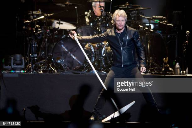 Jon Bon Jovi performs at the American Airlines Center on February 23 2017 in Dallas Texas