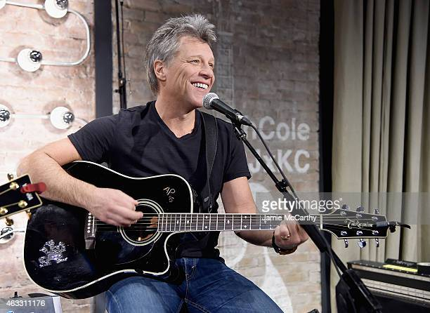 Jon Bon Jovi performs at the Jon Bon Jovi Kenneth Cole Curated Acoustic Concert MercedesBenz Fashion Week Fall 2015 on February 12 2015 in New York...