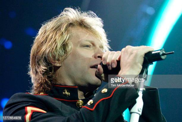 """Jon Bon Jovi performs during the band's """"Have A Nice Day"""" tour at HP Pavilion on February 27, 2006 in San Jose, California."""