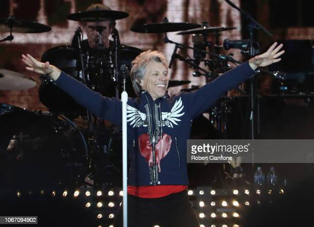 Jon Bon Jovi performs during the Bon Jovi This House Is Not For Sale Tour 2108 at Melbourne Cricket Ground on December 1 2018 in Melbourne Australia