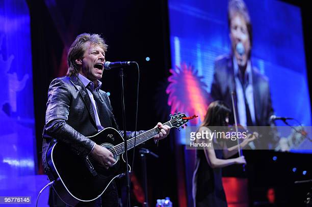 Jon Bon Jovi performs during The City Of Hope's Spirit Of Life Award Gala on January 13 2010 at the JW Marriott in Los Angeles California Bon Jovi is...